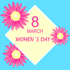 8 March. Floral Greeting card. International Happy Women's Day. Trendy Design Template. Vector illustration.