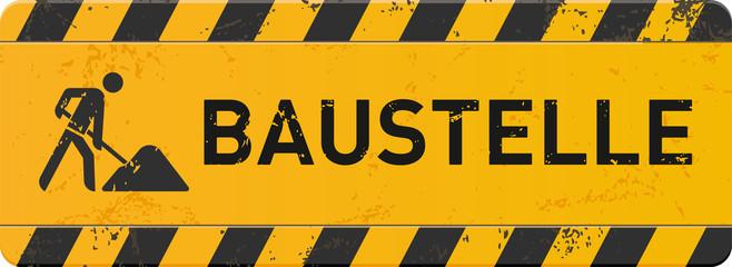 gelbes Schild Baustelle mit Bauarbeiter-Icon