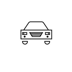 Car icon line outline style isolated on white background, the illustration is flat, vector, pixel perfect for web and print. Linear stokes and fills.