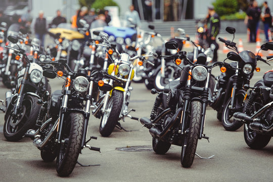 salon selling motorcycles, motorcycles stand in a row on the site