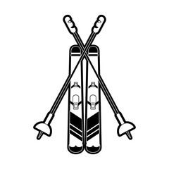 skis with poles  winter sports related icon image vector illustration design  black and white