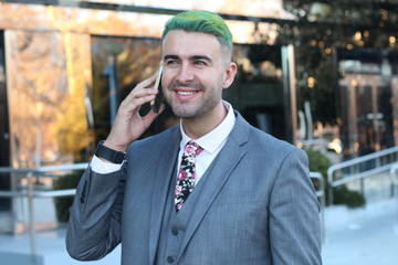 Edgy businessman calling by phone