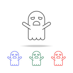 Ghost doodle cartoon character icon. Elements in multi colored icons for mobile concept and web apps. Icons for website design and development, app development
