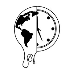 melting earth planet and clock time environment vector illustration outline graphic