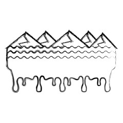 melted landscape mountains water disaster vector illustration