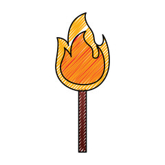 fire stick burn hot flame icon vector illustration drawing graphic