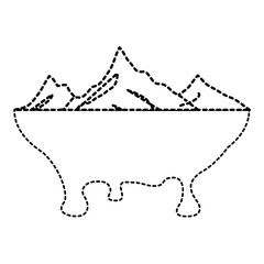 melted landscape mountains water disaster vector illustration dotted line graphic