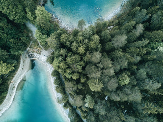 Aerial drone shot of a natural bay in lake Eibsee, Germany during a summer morning with pine forest