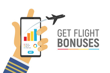 Smartphone app to control your flight miles bonuses vector illustration with text template. Isolated hand of captain airplane hold phone on white background