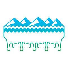 melted landscape mountains water disaster vector illustration degrade color line graphic