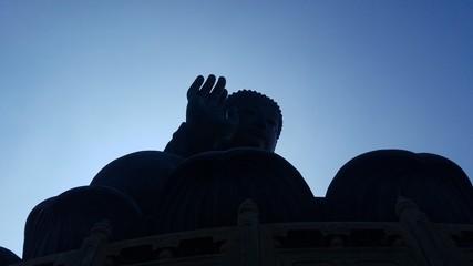 Silhouette of Tian Tan Buddha, Travel and Religious Destination, Lantau Island, Hong Kong