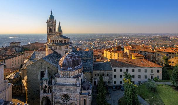 Panorama of Bergamo Old Town, Italy