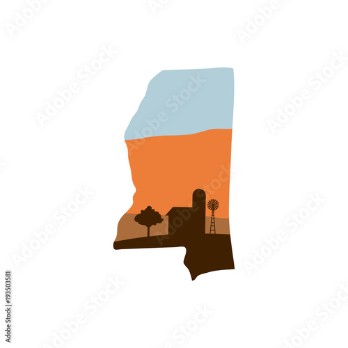 Mississippi State Shape with Farm at Sunset w Windmill, Barn, and a Tree