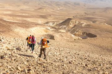 Four backpackers hiking trail, Negev desert,  Israel.