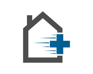 blue cross medical house image vector icon