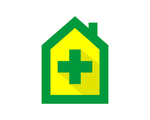 yellow green cross medical medicare clinic house image vector icon