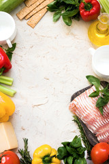 Flat lay with fresh organic ingredients for Italian cuisine. Copy past