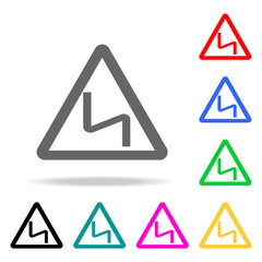 Road Sign - curves ahead warning sign icon. Elements in multi colored icons for mobile concept and web apps. Icons for website design and development, app development