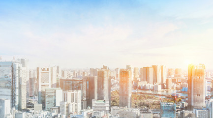 Asia Business concept for real estate and corporate construction - panoramic modern city skyline bird eye aerial view with crane in Tokyo, Japan. Mix hand drawn sketch illustration