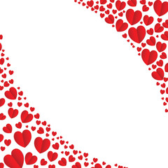 Frame of red hearts on Valentine's Day. Empty space for your text. White background. vector illustration.