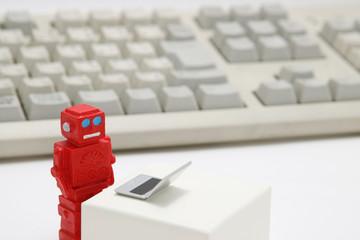 ロボットとパソコン 人工知能イメージ
