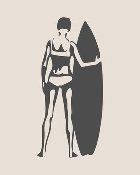Woman posing with surfboard. Monochrome silhouette. Vintage surfing graphic and emblem for web design or print. Back view