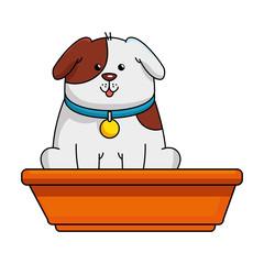 cute dog mascot in plastic pot vector illustration design