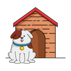 cute dog mascot with wooden house vector illustration design
