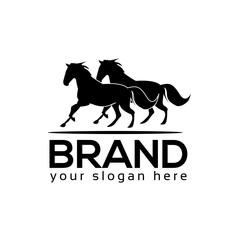 Black Horse Icon Logo. Flat logo design. Two horse.