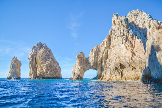 The arch of Cabo San Lucas at Baja California, Mexico
