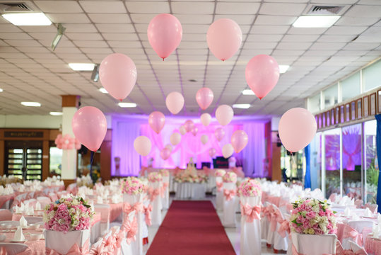 Pink balloons and bouquets