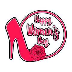 High heel shoe with flowers. Happy women day