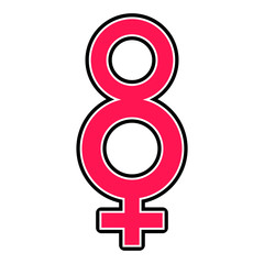 Eight shaped female gender symbol