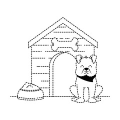 cute dog mascot with wooden house and dish food vector illustration design