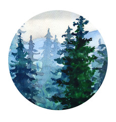 .Watercolor landscape with Pine forest, mountains