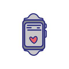 smartwatch technology object with heartbeat rhythm