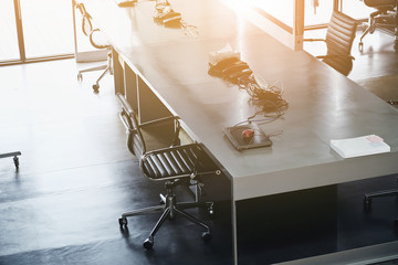 Office interior, workspace,Office desk