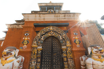 Decorated doorway at a temple in Kathmandu Nepal