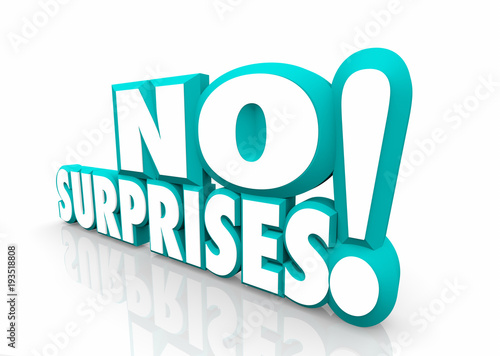 """No Surprises Reliable Responsible Words 3d Illustration"