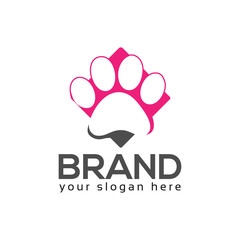 Dog paws logo vector.