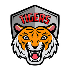 Mascot of orange white tiger's head on shield background
