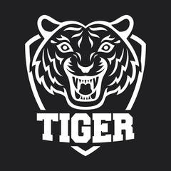 Mascot of white tiger's head on shield background