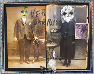 Ghost and weird. Mysterious,macabre and esoteric collage series.