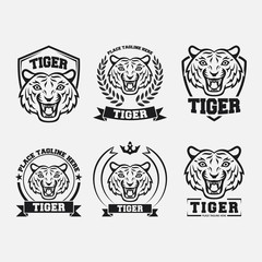 Black tiger icon collection set