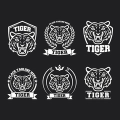 White tiger icon collection set