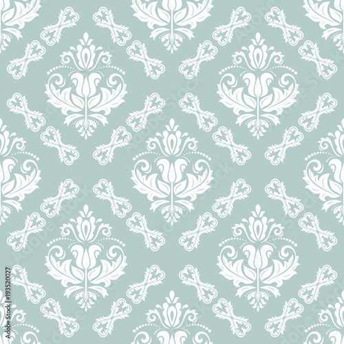 Classic Seamless Light Blue And White Pattern Traditional Orient Ornament Vintage Background