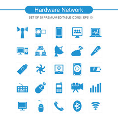 Hardware network icons set blue