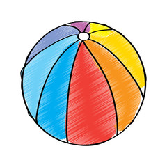 beach ball multicolor rubber play vector illustration