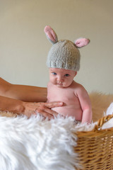 baby in bunny ear hat sitting in basket for Easter portrait