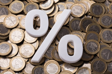 Percentage Sign On Euro Coins